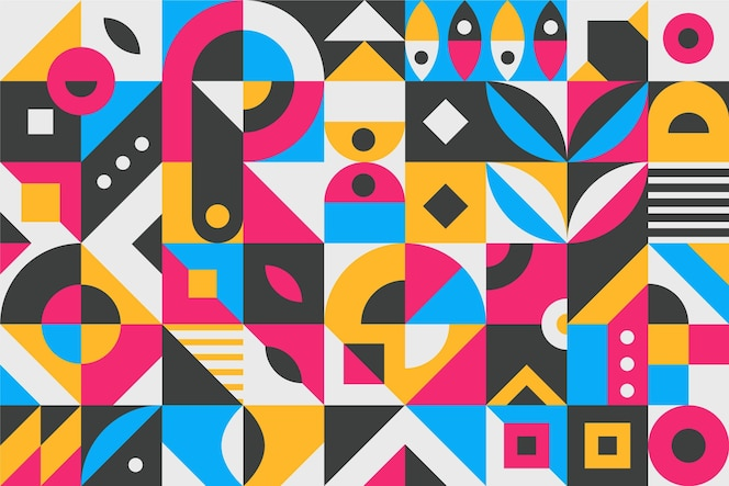 Flat design abstract colorful geometric shapes