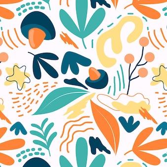フラットなデザインの抽象的な要素パターン