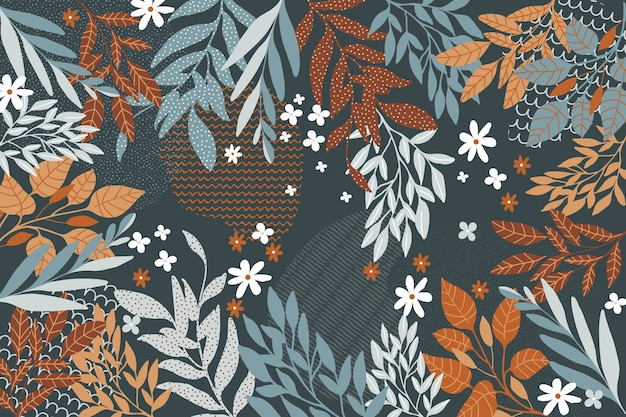 Flat design abstract floral theme for background