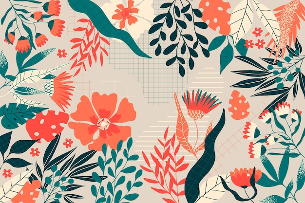 Flat design abstract floral theme for wallpaper