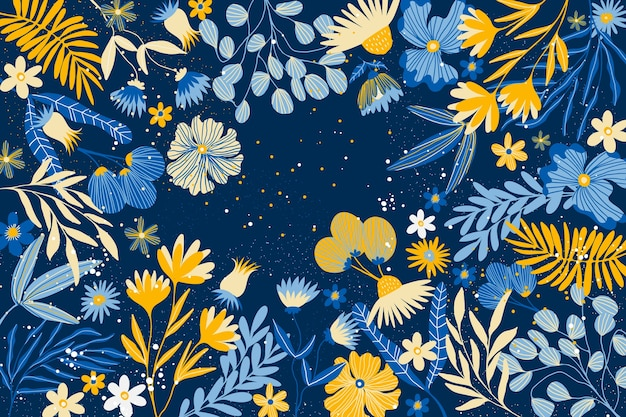 Flat design abstract floral wallpaper concept