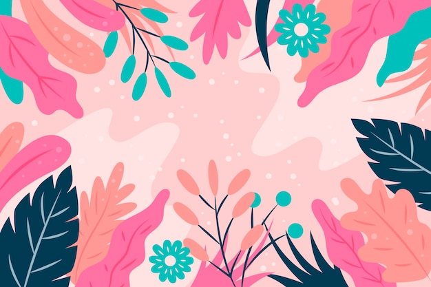 Flat design abstract floral wallpaper