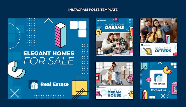 Flat design abstract geometric real estate instagram post