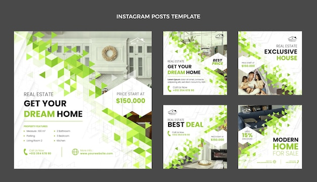 Flat design abstract geometric real estate instagram posts