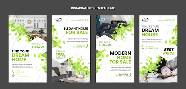 Flat design abstract geometric real estate instagram stories