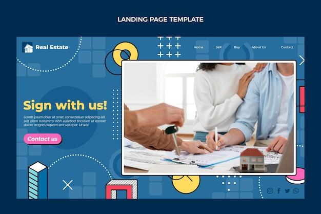 Pagina di destinazione immobiliare geometrica astratta di design piatto
