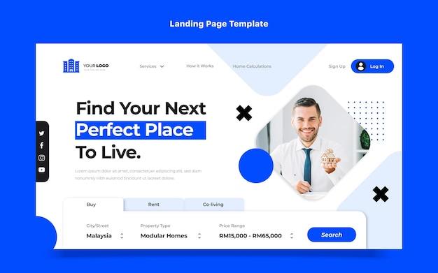 Flat design abstract geometric real estatelanding page