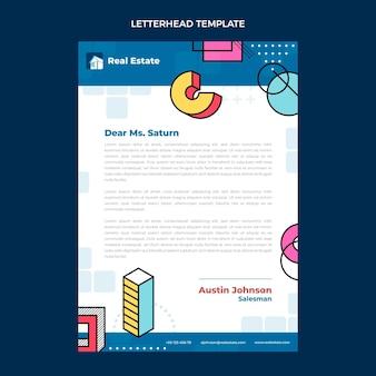 Flat design abstract geometric real estate letterhead