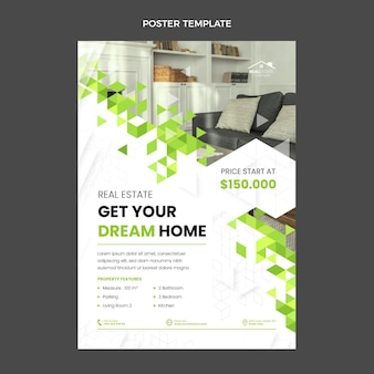 Flat design abstract geometric real estate poster