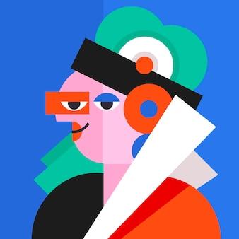 아트 스타일의 평면 디자인 추상 초상화