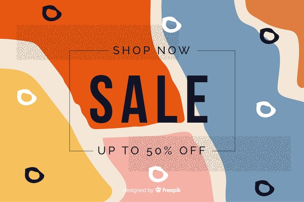 Flat design abstract sale background