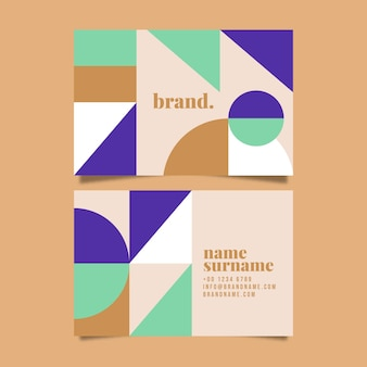 Flat design of abstract shapes business cards template