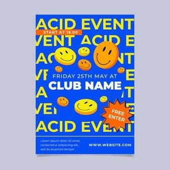 Flat design acid emoji poster