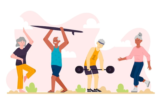 Flat design active elderly people collection