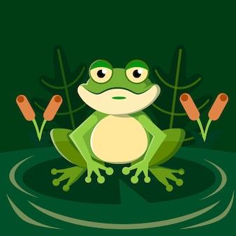 Illustrazione adorabile della rana di design piatto