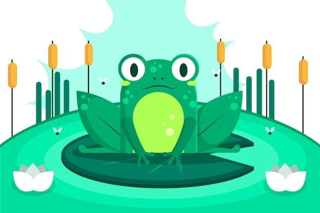 Очаровательная лягушка в плоском дизайне Бесплатные векторы