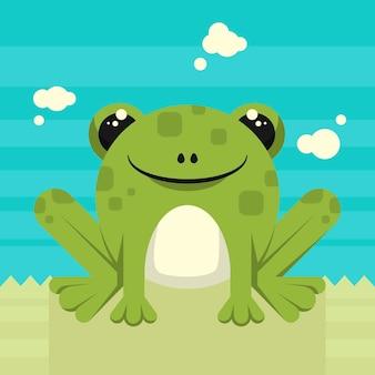 Очаровательная лягушка в плоском дизайне