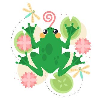 Flat design adorable frog illustration