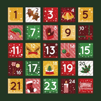 Flat design advent calendar illustration