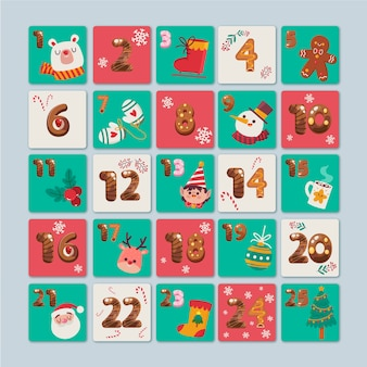 Flat design advent calendar template
