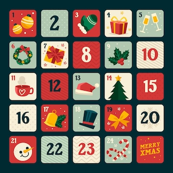 Flat design advent calendar with christmas elements