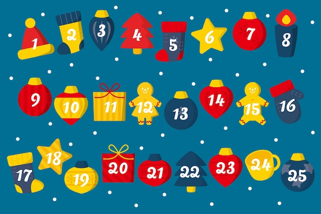 Calendario dell'avvento design piatto