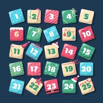 Адвент-календарь в плоском дизайне