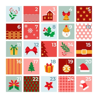 Flat design advent calendar