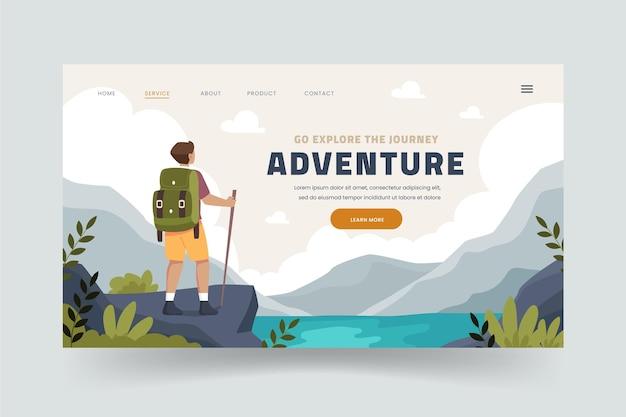 Приключенческая целевая страница в плоском дизайне