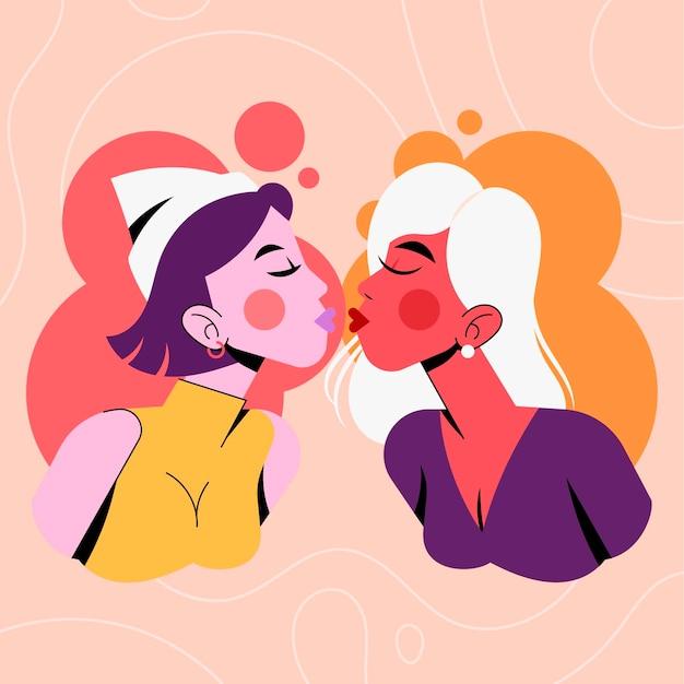 Плоский дизайн ласкового лесбийского поцелуя