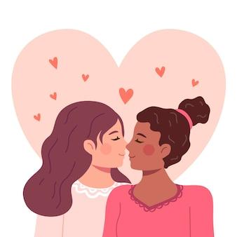 Bacio lesbico affettuoso design piatto