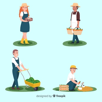 Flat design agricultural characters working outside