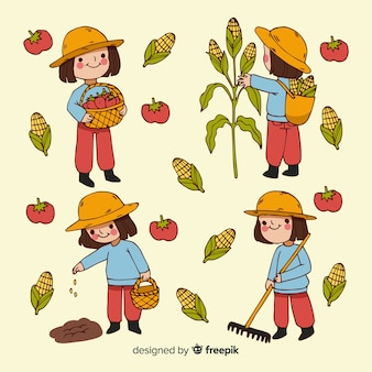 Flat design agricultural workers illustrated collection