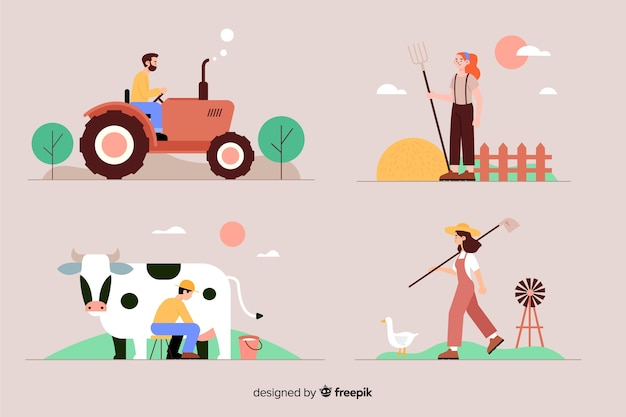 Flat design of agricultural workers