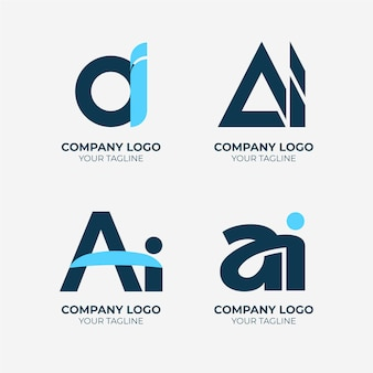 Flat design ai logo collection