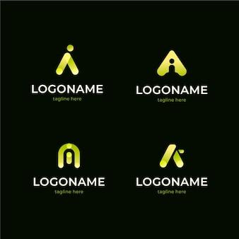 Flat design ai logo collection