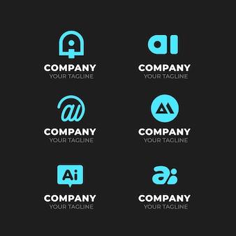 Плоский дизайн коллекции шаблонов логотипа ai