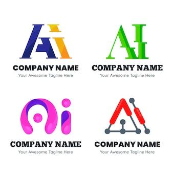 Pacchetto di modelli di logo ai design piatto
