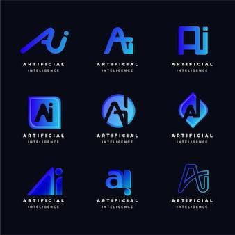 フラットデザインaiロゴコレクション