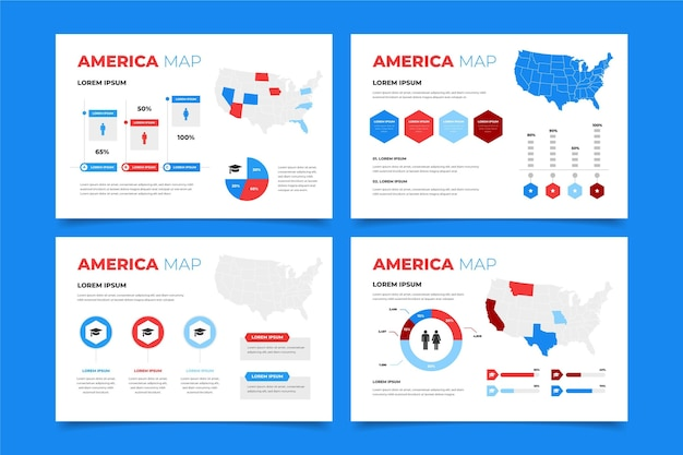 Плоский дизайн карта америки инфографики