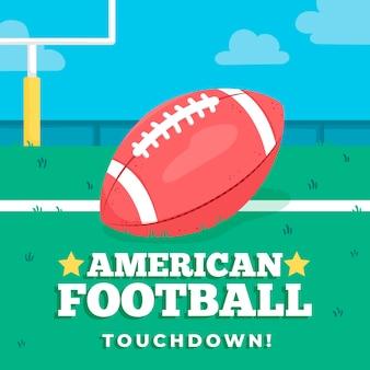 Плоский дизайн американский мяч на поле