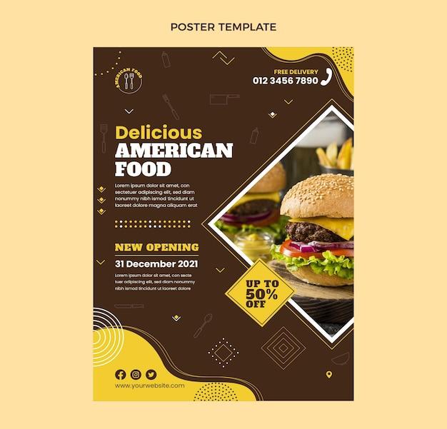 フラットデザインのアメリカ料理のポスター