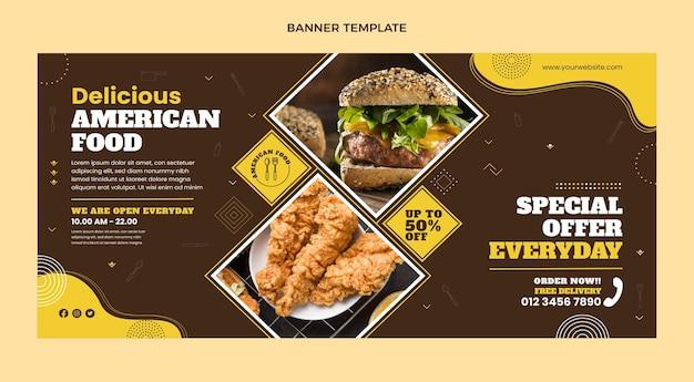 Плоский дизайн баннера продажи американской еды