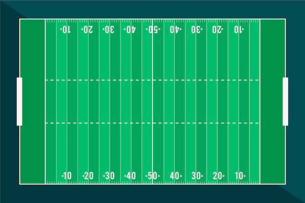Piatto campo di football americano design piatto lay