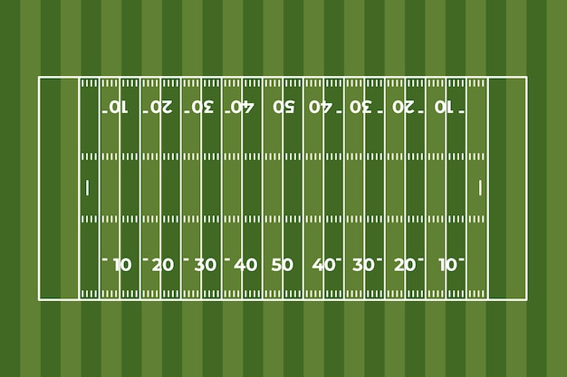 Flat design american football field in top view