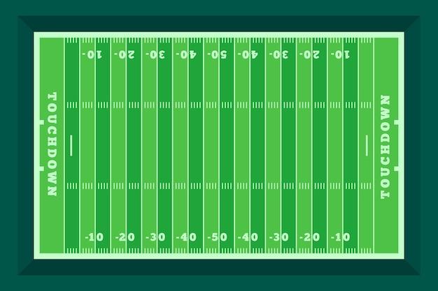 Campo di football americano design piatto in vista dall'alto