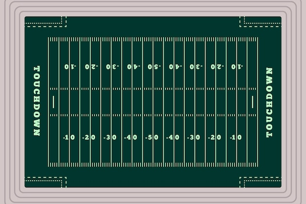 Flat design american football field in top view
