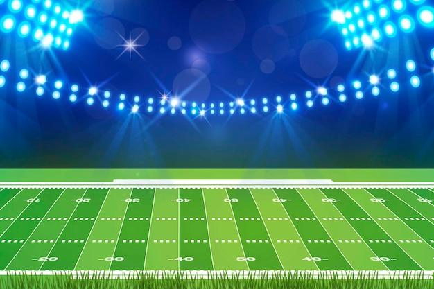 フラットなデザインのアメリカンフットボールフィールド