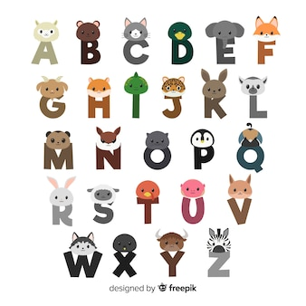 Flat design animal letters collection