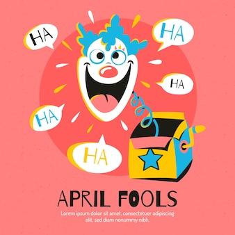 Flat design april fools day clown in a box